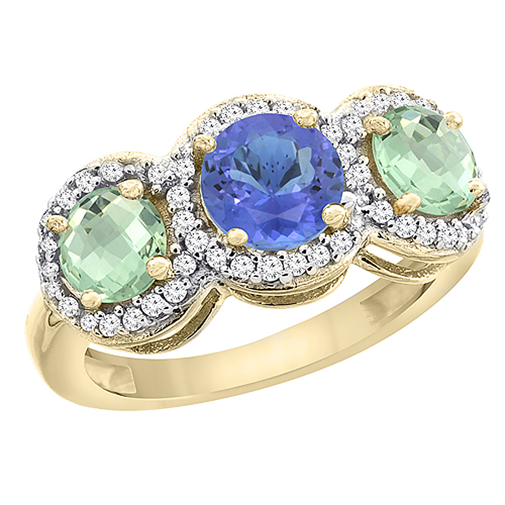 10K Yellow Gold Natural Tanzanite & Green Amethyst Sides Round 3-stone Ring Diamond Accents, sizes 5 - 10