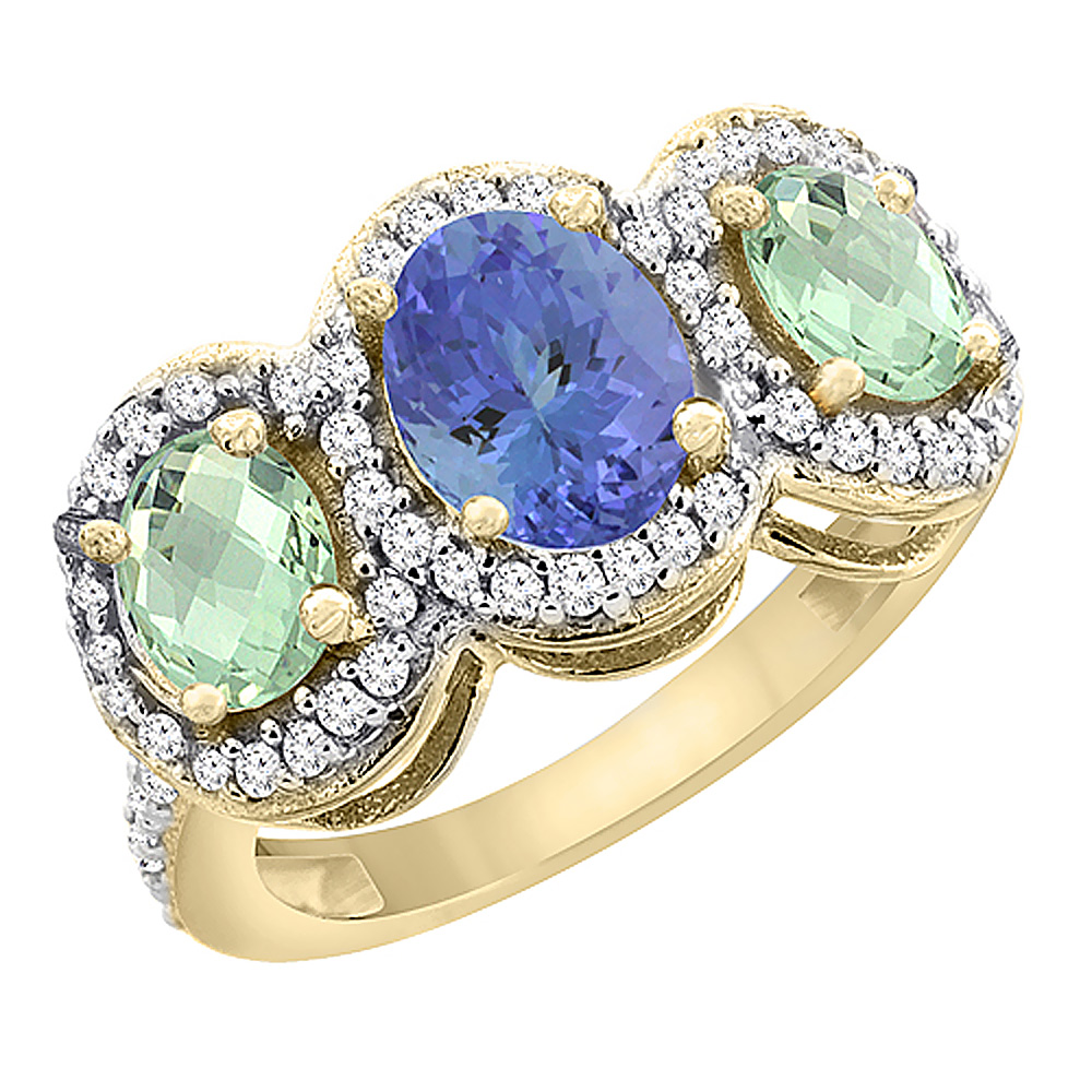 10K Yellow Gold Natural Tanzanite & Green Amethyst 3-Stone Ring Oval Diamond Accent, sizes 5 - 10