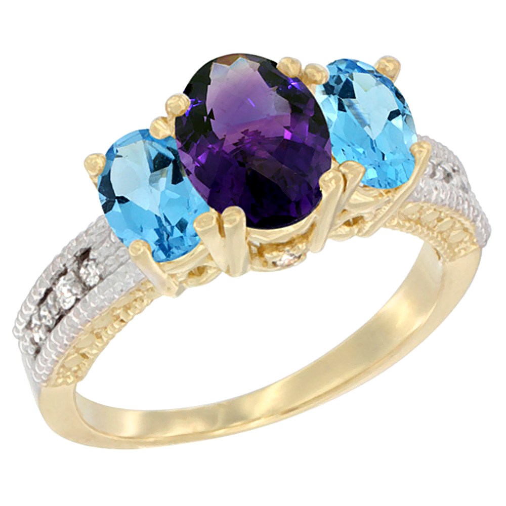 10K Yellow Gold Ladies Oval Natural Amethyst Ring 3-stone with Swiss Blue Topaz Sides Diamond Accent
