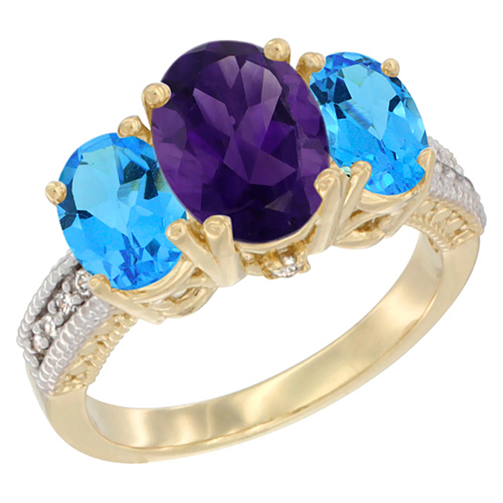10K Yellow Gold Natural Amethyst Ring Ladies 3-Stone Oval 8x6mm with Swiss Blue Topaz Sides Diamond Accent, sizes 5 - 10