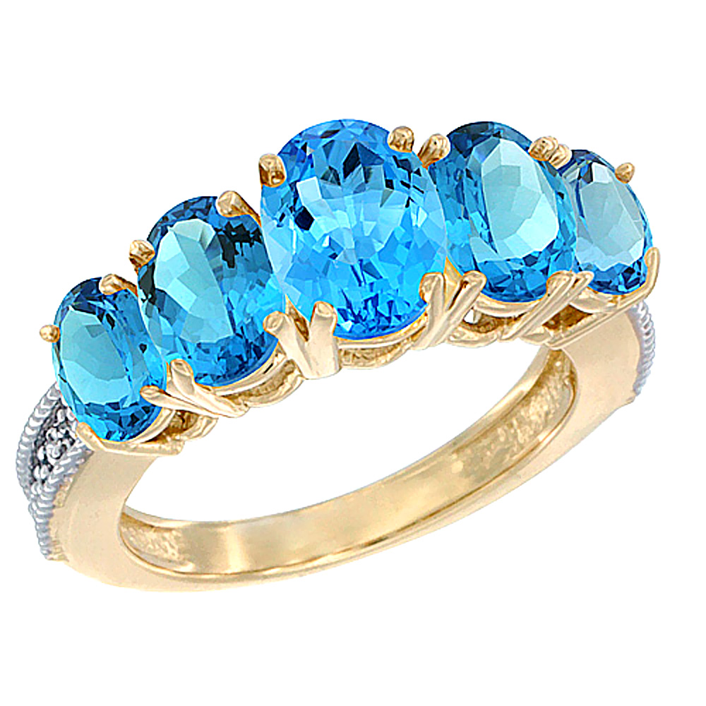 10K Yellow Gold Diamond Natural Swiss Blue Topaz Ring 5-stone Oval 8x6 Ctr,7x5,6x4 sides, sizes 5 - 10