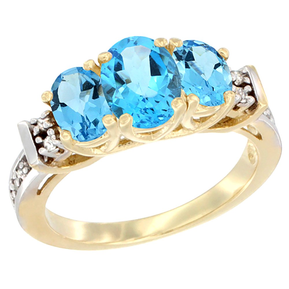 14K Yellow Gold Natural Swiss Blue Topaz Ring 3-Stone Oval Diamond Accent