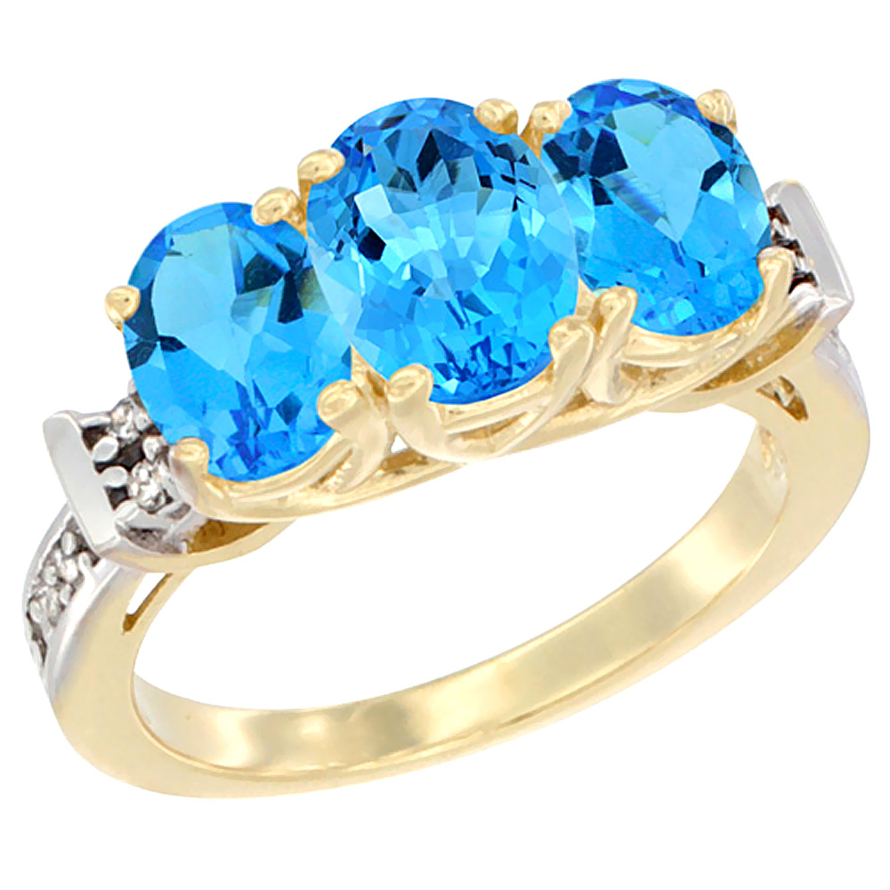 14K Yellow Gold Natural Swiss Blue Topaz Ring 3-Stone Oval Diamond Accent, sizes 5 - 10