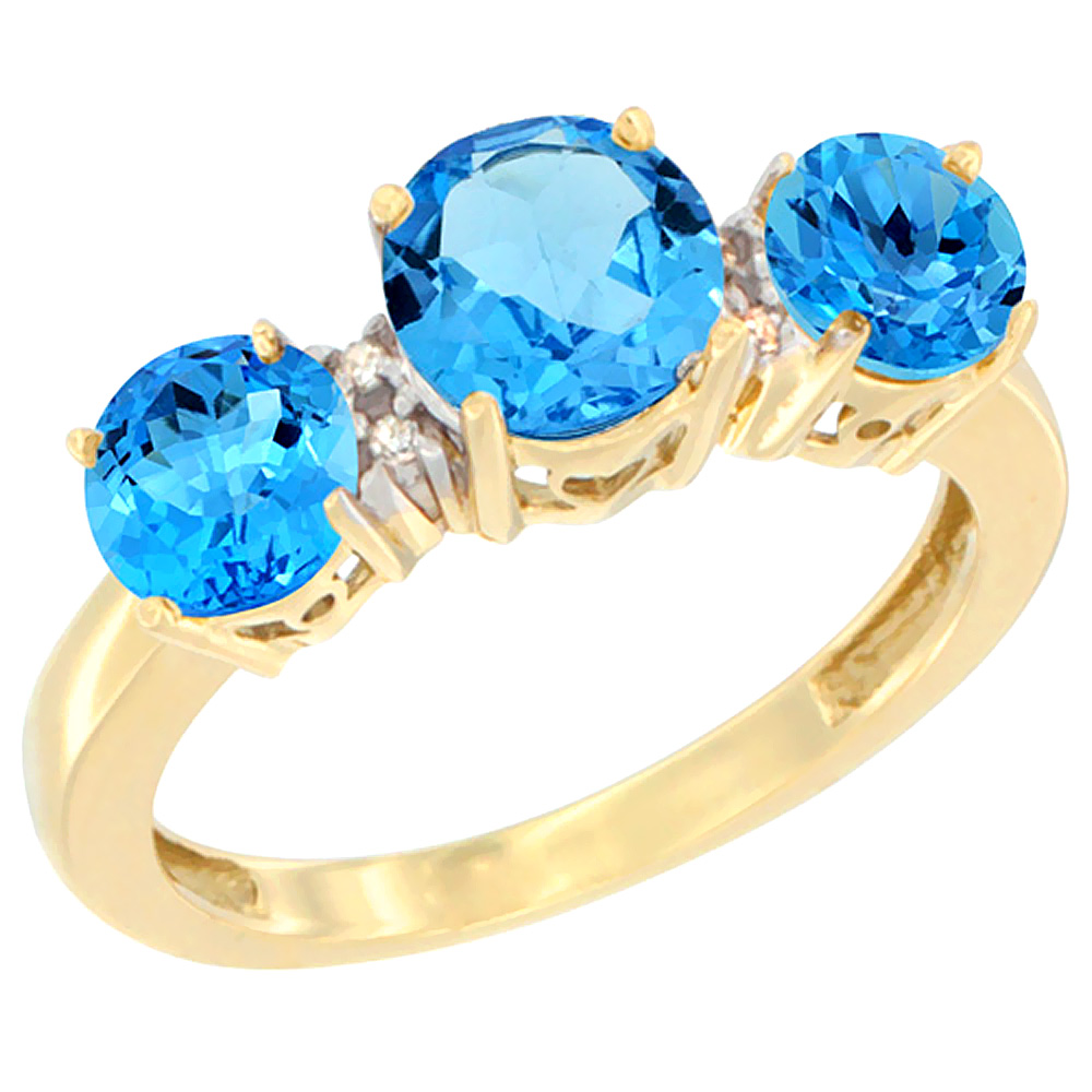 14K Yellow Gold Round 3-Stone Natural Swiss Blue Topaz Ring Diamond Accent, sizes 5 - 10