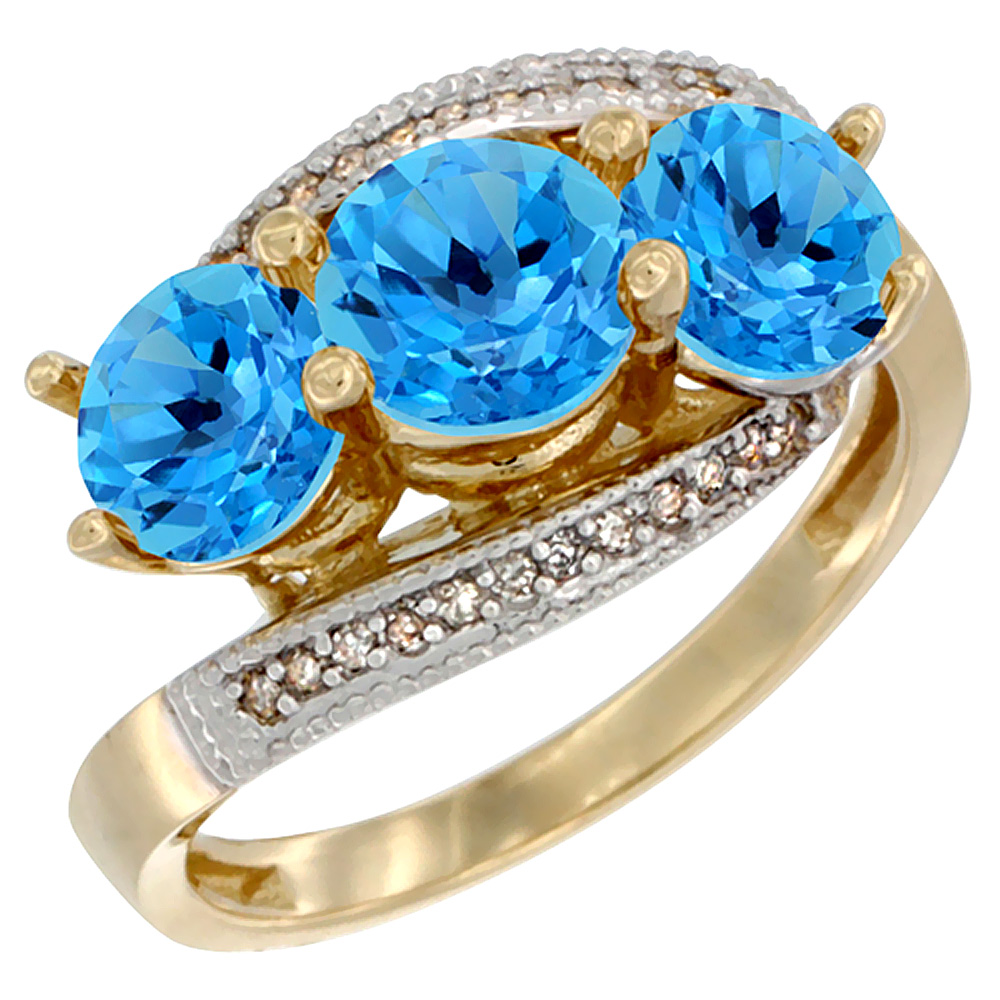 14K Yellow Gold Natural Swiss Blue Topaz 3 stone Ring Round 6mm Diamond Accent, sizes 5 - 10
