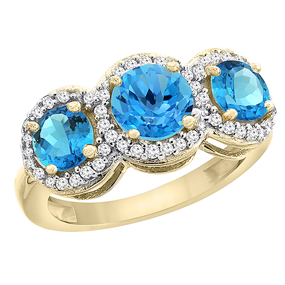 14K Yellow Gold Natural Swiss Blue Topaz Round 3-stone Ring Diamond Accents, sizes 5 - 10