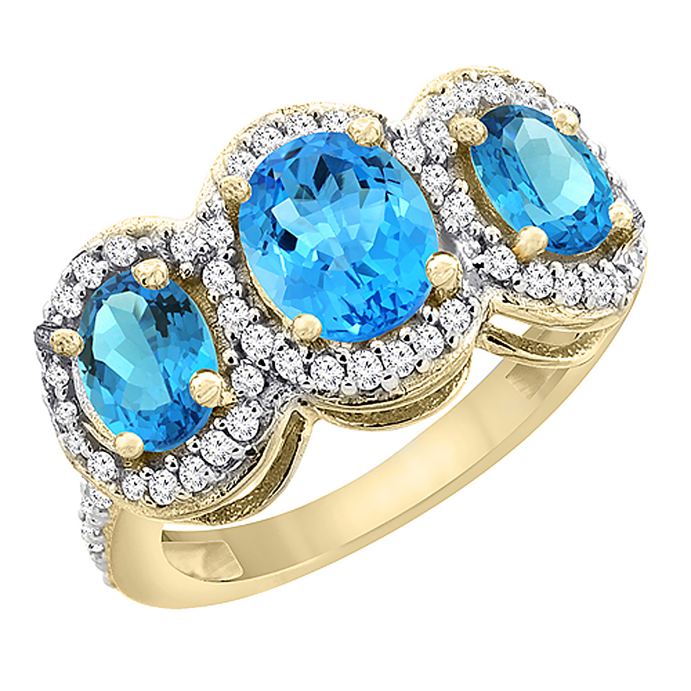 14K Yellow Gold Natural Swiss Blue Topaz 3-Stone Ring Oval Diamond Accent, sizes 5 - 10