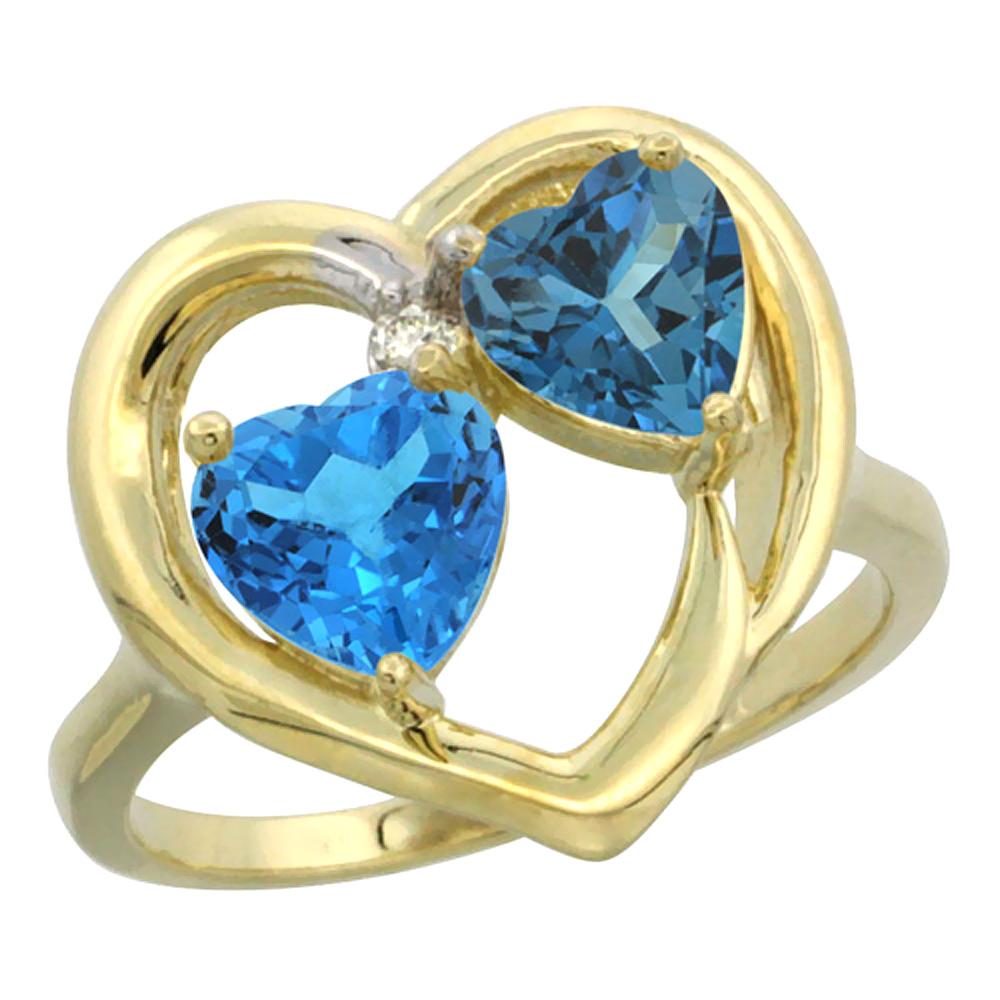 14K Yellow Gold Diamond Two-stone Heart Ring 6mm Natural Swiss Blue & London Blue Topaz, sizes 5-10