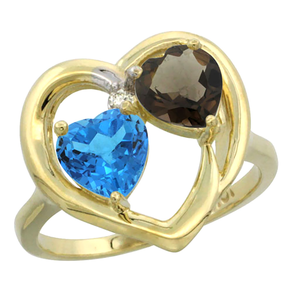 14K Yellow Gold Diamond Two-stone Heart Ring 6mm Natural Swiss Blue & Smoky Topaz, sizes 5-10
