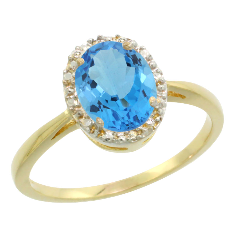 10K Yellow Gold Natural Swiss Blue Topaz Diamond Halo Ring Oval 8X6mm, sizes 5-10