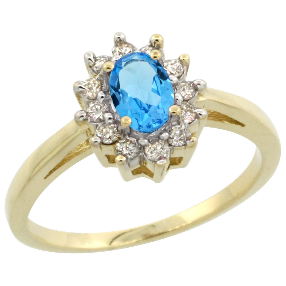 14K Yellow Gold Natural Swiss Blue Topaz Flower Diamond Halo Ring Oval 6x4 mm, sizes 5-10