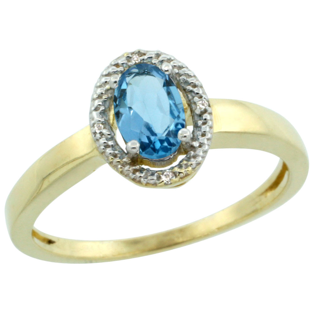 14K Yellow Gold Diamond Halo Natural Swiss Blue Topaz Engagement Ring Oval 6X4 mm, sizes 5-10