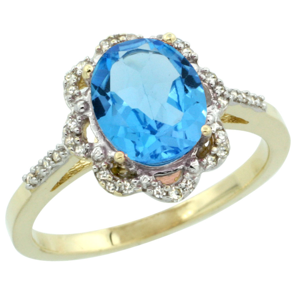 10K Yellow Gold Diamond Halo Natural Swiss Blue Topaz Engagement Ring Oval 9x7mm, sizes 5-10