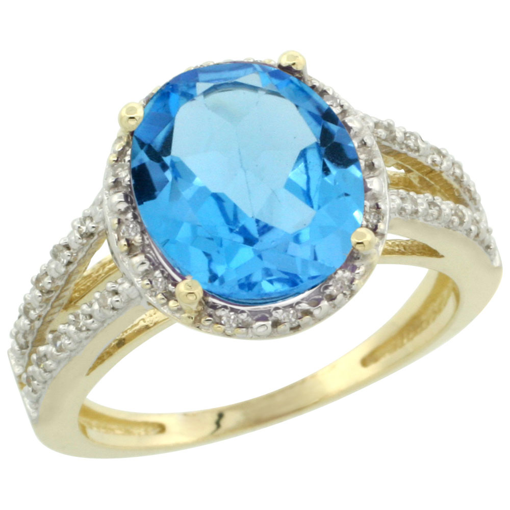 10K Yellow Gold Diamond Natural Swiss Blue Topaz Ring Oval 11x9mm, sizes 5-10