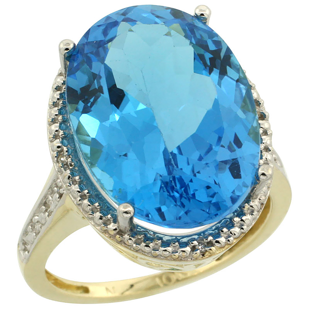 10K Yellow Gold Diamond Natural Swiss Blue Topaz Ring Oval 18x13mm, sizes 5-10