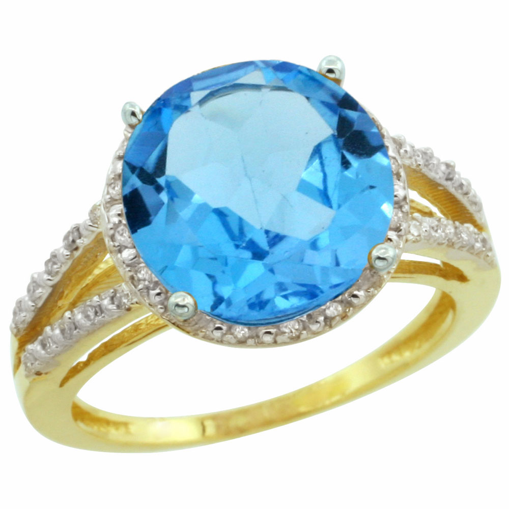 10K Yellow Gold Diamond Natural Swiss Blue Topaz Ring Round 11mm, sizes 5-10