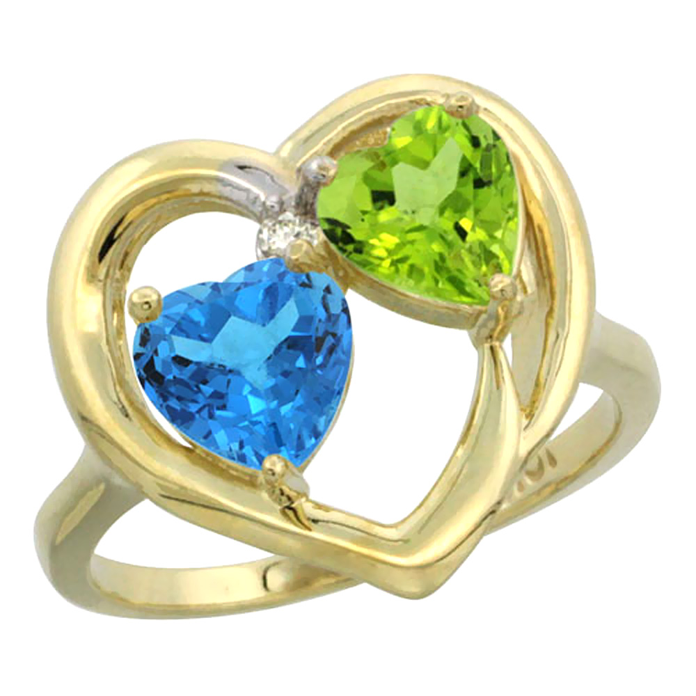 14K Yellow Gold Diamond Two-stone Heart Ring 6mm Natural Swiss Blue Topaz & Peridot, sizes 5-10