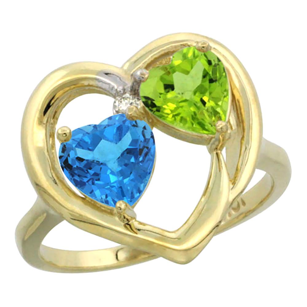 14K Yellow Gold Diamond Two-stone Heart Ring 6mm Natural Swiss Blue Topaz & Peridot, sizes 5-10