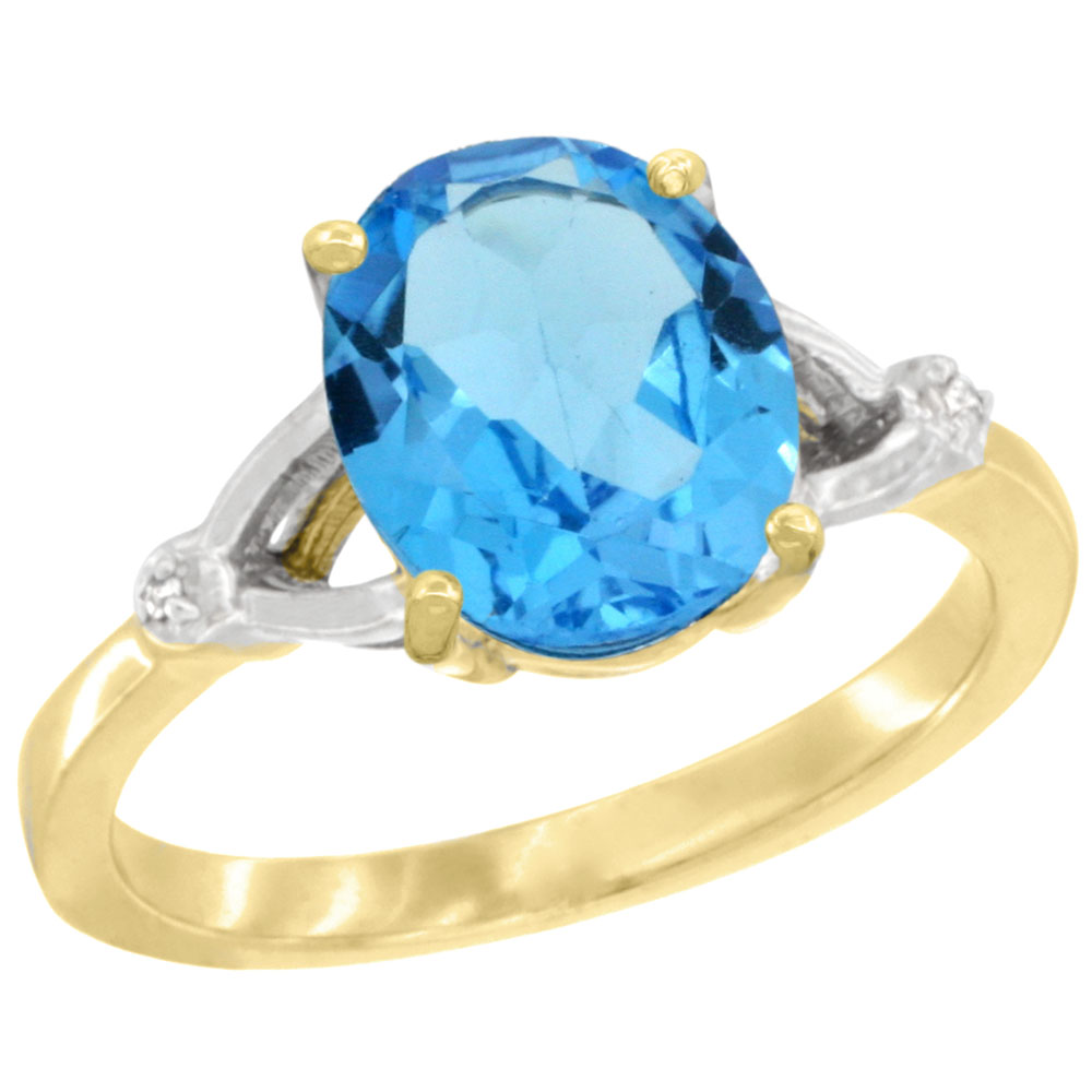 10K Yellow Gold Diamond Natural Swiss Blue Topaz Engagement Ring Oval 10x8mm, sizes 5-10