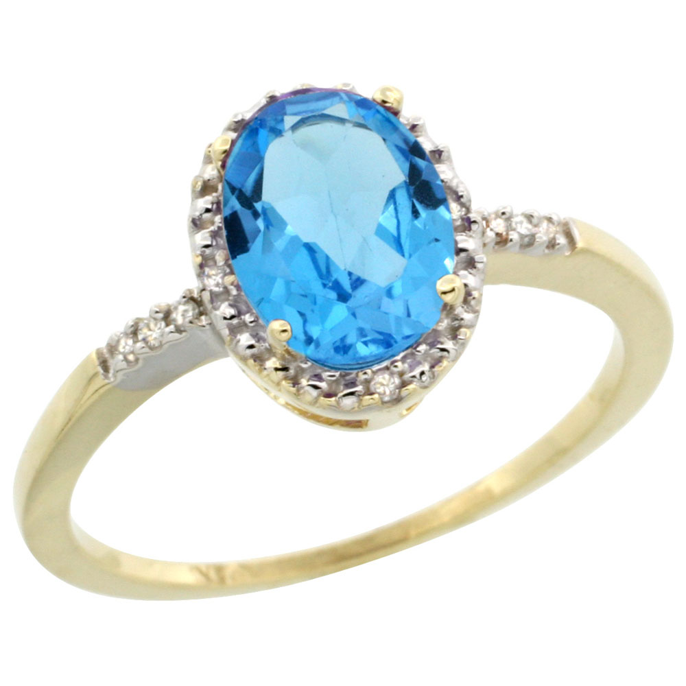 10K Yellow Gold Diamond Natural Swiss Blue Topaz Ring Oval 8x6mm, sizes 5-10