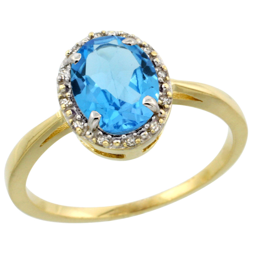 10k Yellow Gold Natural Swiss Blue Topaz Ring Oval 8x6 mm Diamond Halo, sizes 5-10