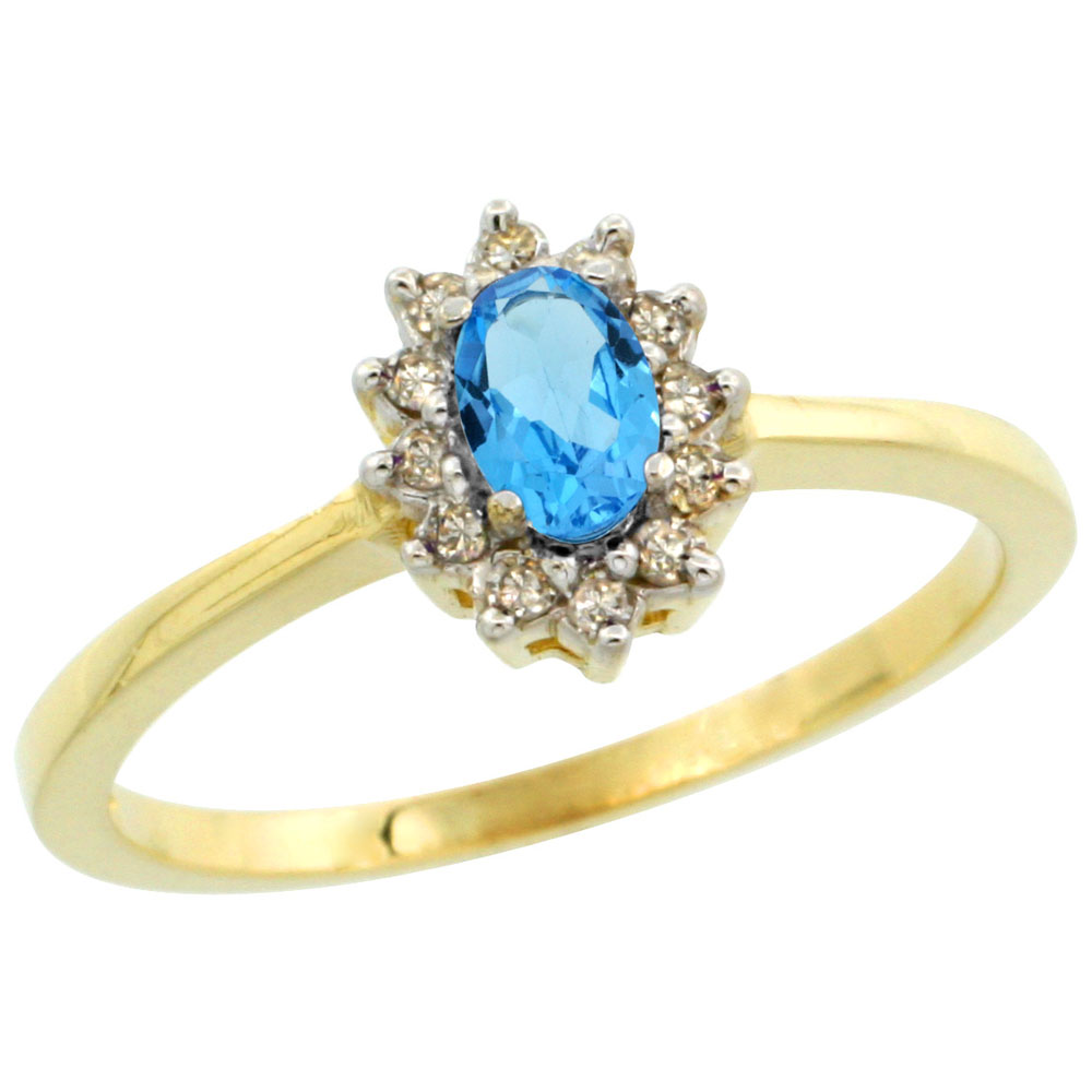 10k Yellow Gold Natural Swiss Blue Topaz Ring Oval 5x3mm Diamond Halo, sizes 5-10