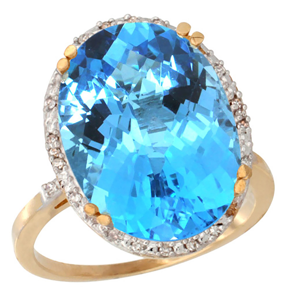 10k Yellow Gold Natural Swiss Blue Topaz Ring Large Oval 18x13mm Diamond Halo, sizes 5-10