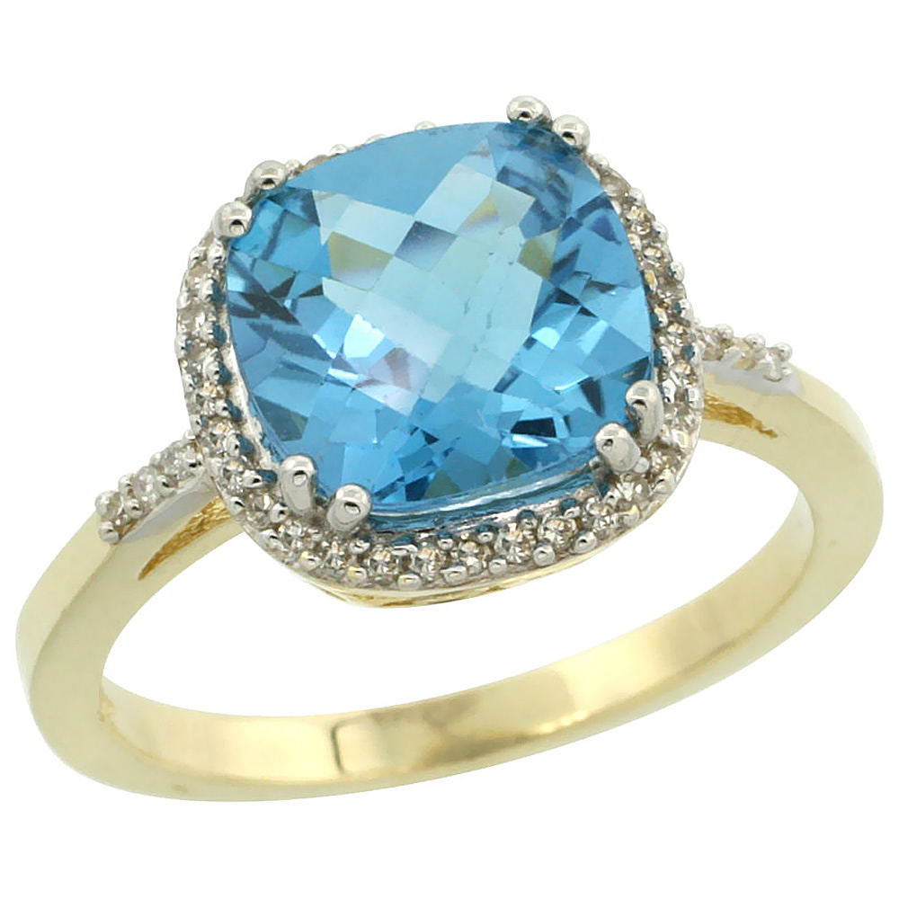 14K Yellow Gold Diamond Natural Swiss Blue Topaz Ring Cushion-cut 9x9mm, sizes 5-10