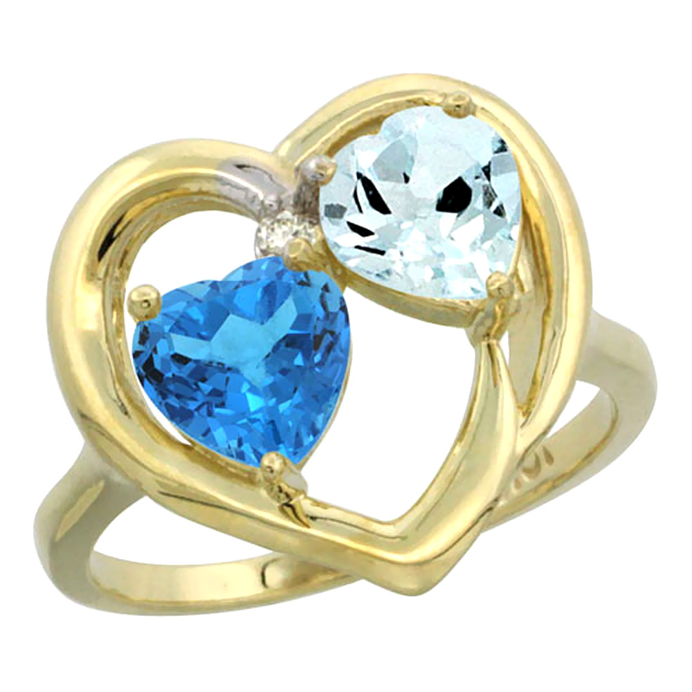 14K Yellow Gold Diamond Two-stone Heart Ring 6mm Natural Swiss Blue Topaz & Aquamarine, sizes 5-10