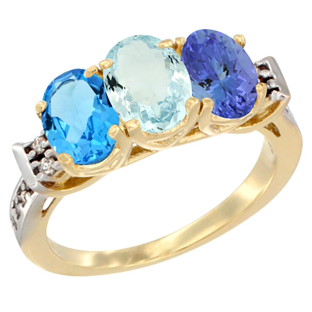 14K Yellow Gold Natural Swiss Blue Topaz, Aquamarine & Tanzanite Ring 3-Stone 7x5 mm Oval Diamond Accent, sizes 5 - 10