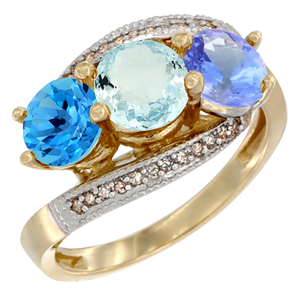 14K Yellow Gold Natural Swiss Blue Topaz, Aquamarine & Tanzanite 3 stone Ring Round 6mm Diamond Accent, sizes 5 - 10