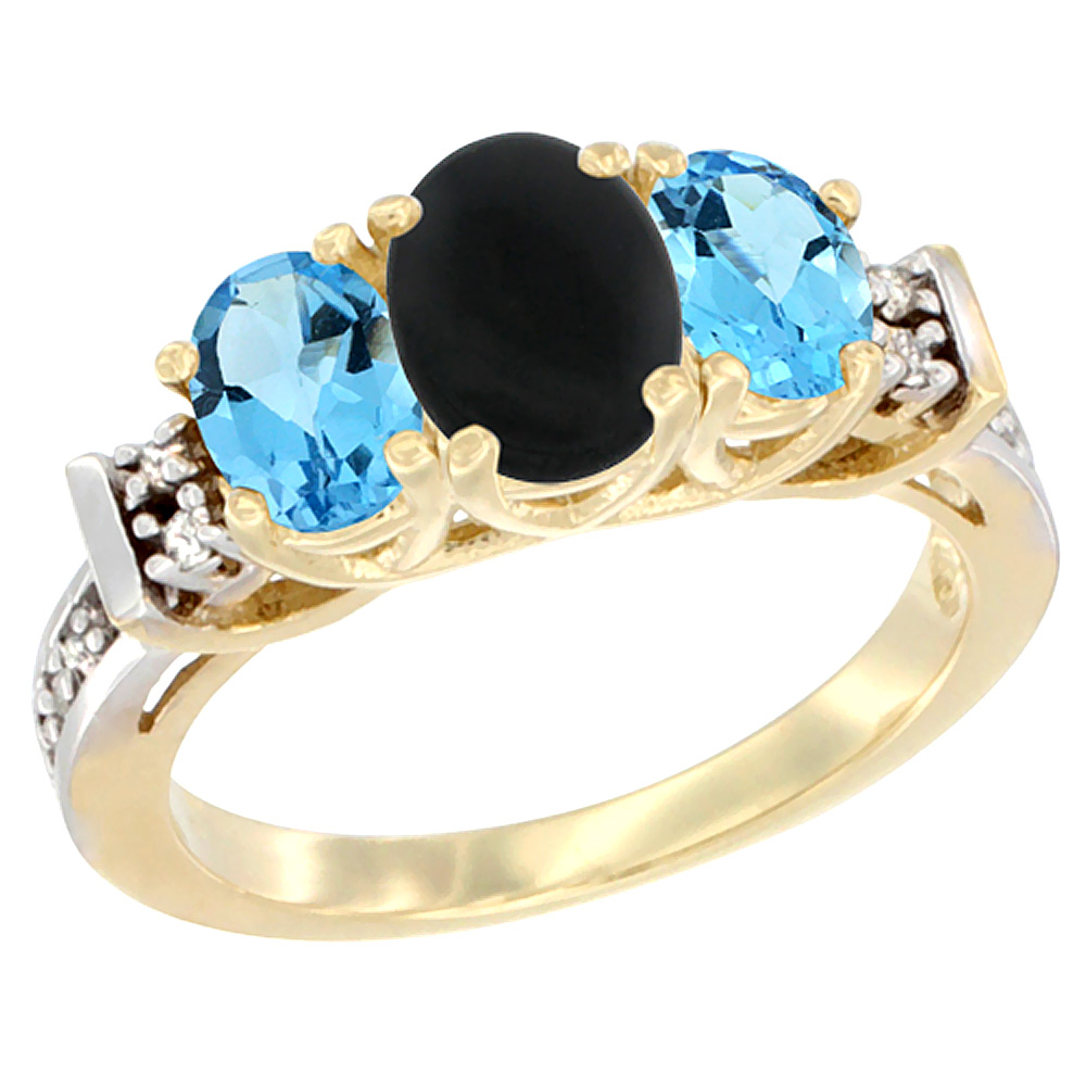 10K Yellow Gold Natural Black Onyx & Swiss Blue Topaz Ring 3-Stone Oval Diamond Accent