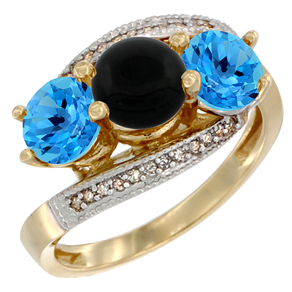 10K Yellow Gold Natural Black Onyx & Swiss Blue Topaz Sides 3 stone Ring Round 6mm Diamond Accent, sizes 5 - 10