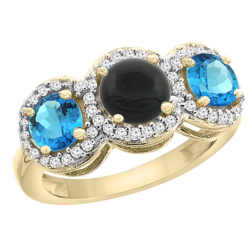 10K Yellow Gold Natural Black Onyx & Swiss Blue Topaz Sides Round 3-stone Ring Diamond Accents, sizes 5 - 10