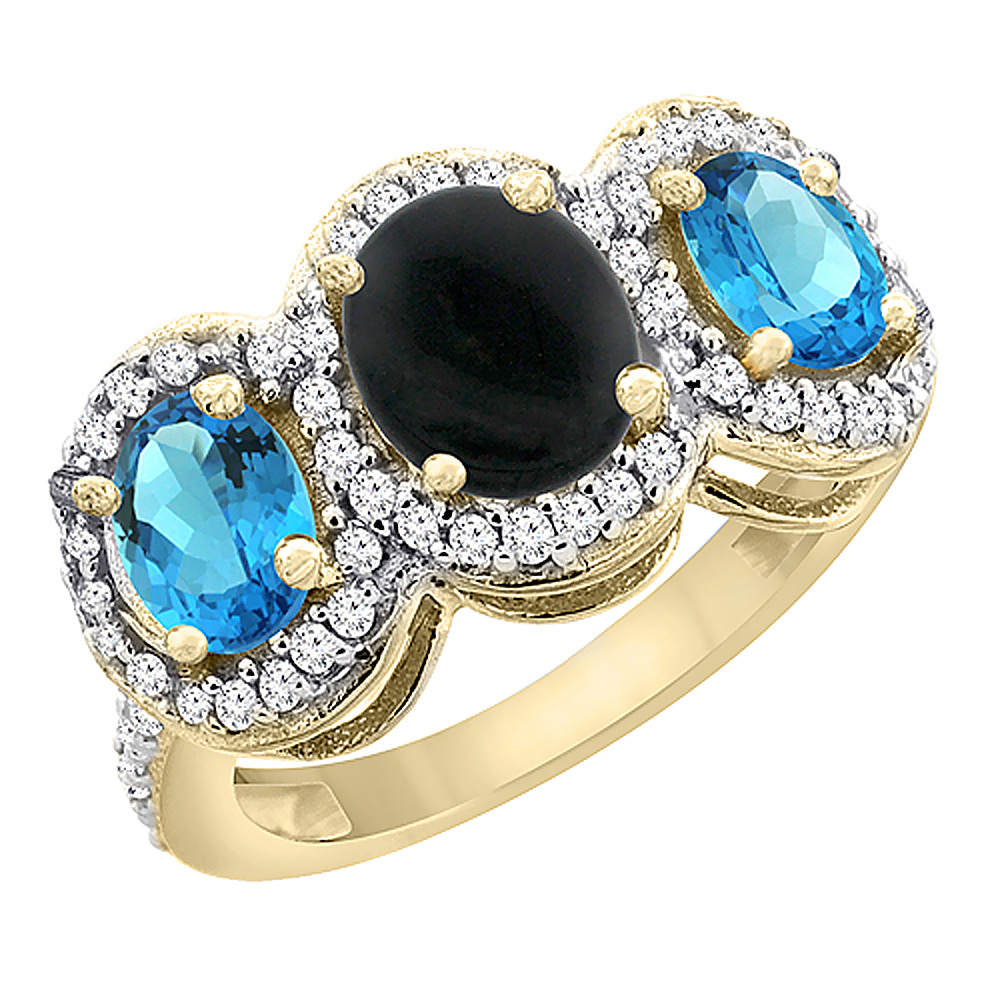 14K Yellow Gold Natural Black Onyx & Swiss Blue Topaz 3-Stone Ring Oval Diamond Accent, sizes 5 - 10