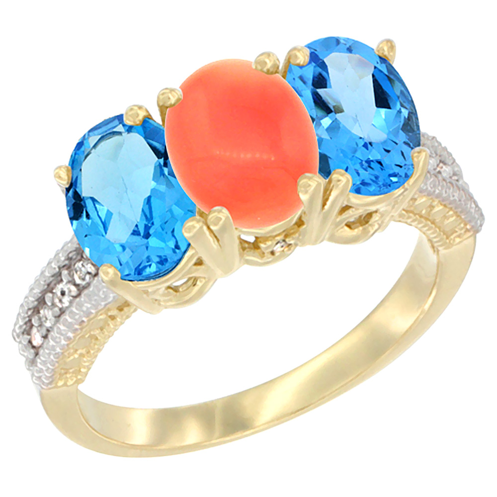 14K Yellow Gold Natural Coral & Swiss Blue Topaz Sides Ring 3-Stone 7x5 mm Oval Diamond Accent, sizes 5 - 10