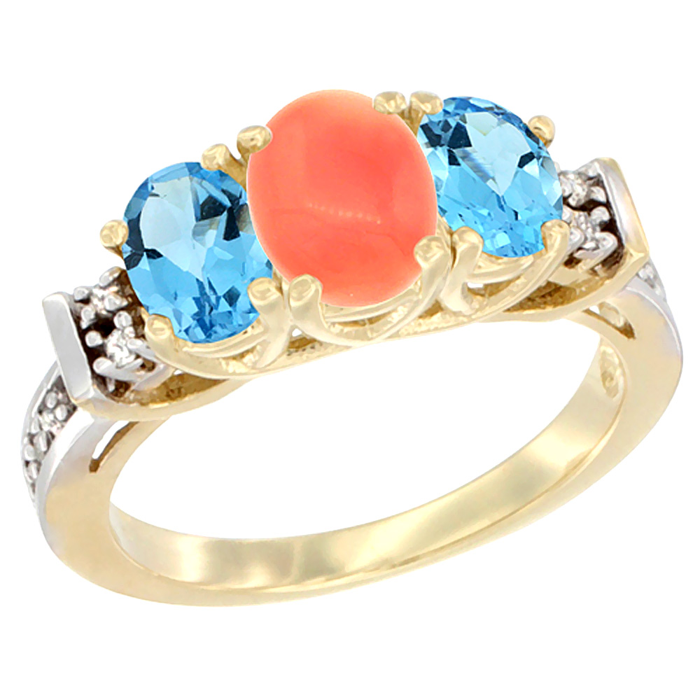 14K Yellow Gold Natural Coral & Swiss Blue Topaz Ring 3-Stone Oval Diamond Accent