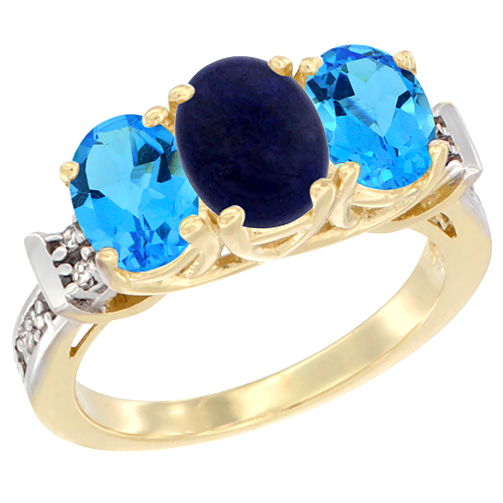14K Yellow Gold Natural Lapis & Swiss Blue Topaz Sides Ring 3-Stone Oval Diamond Accent, sizes 5 - 10