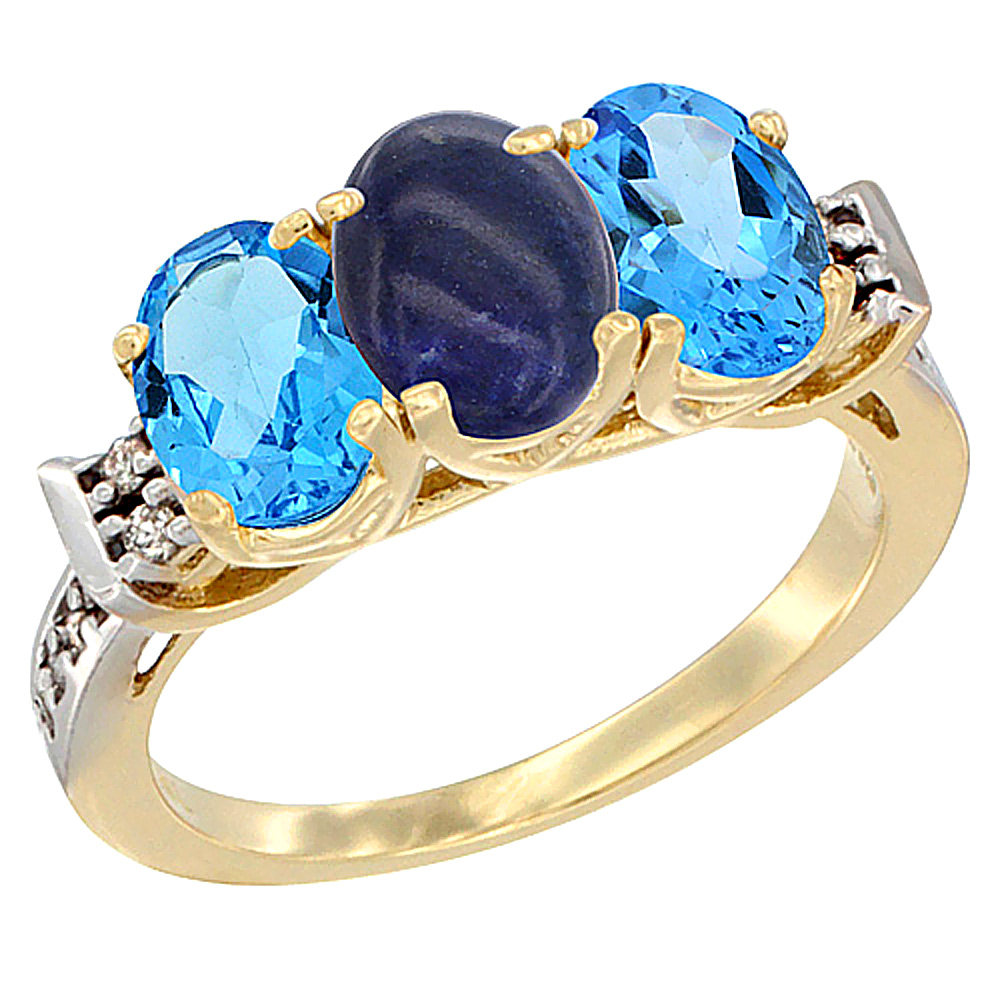 10K Yellow Gold Natural Lapis & Swiss Blue Topaz Sides Ring 3-Stone Oval 7x5 mm Diamond Accent, sizes 5 - 10
