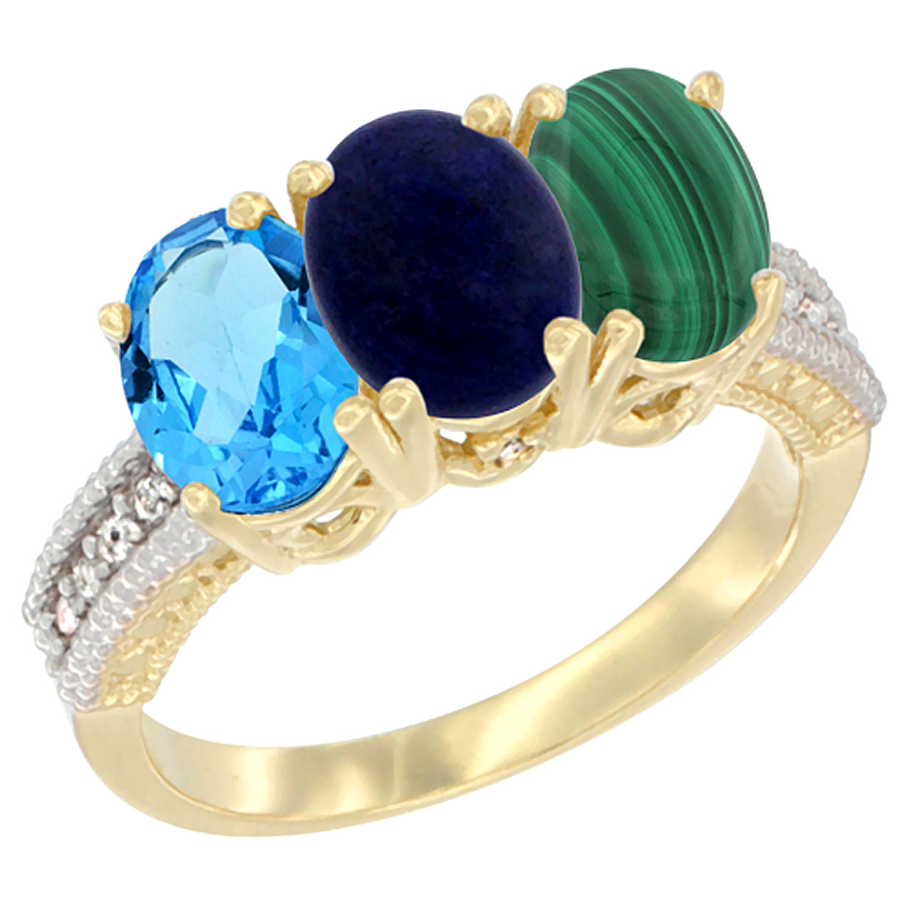 14K Yellow Gold Natural Swiss Blue Topaz, Lapis & Malachite Ring 3-Stone 7x5 mm Oval Diamond Accent, sizes 5 - 10