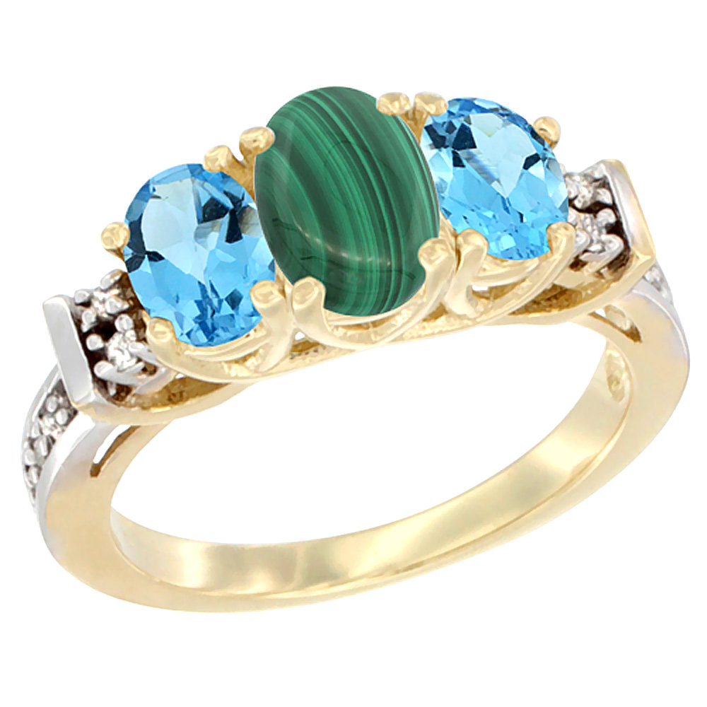 14K Yellow Gold Natural Malachite & Swiss Blue Topaz Ring 3-Stone Oval Diamond Accent