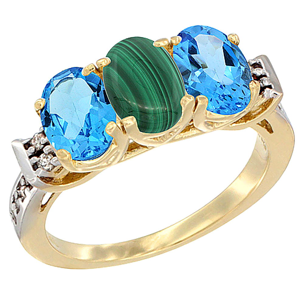 10K Yellow Gold Natural Malachite & Swiss Blue Topaz Sides Ring 3-Stone Oval 7x5 mm Diamond Accent, sizes 5 - 10