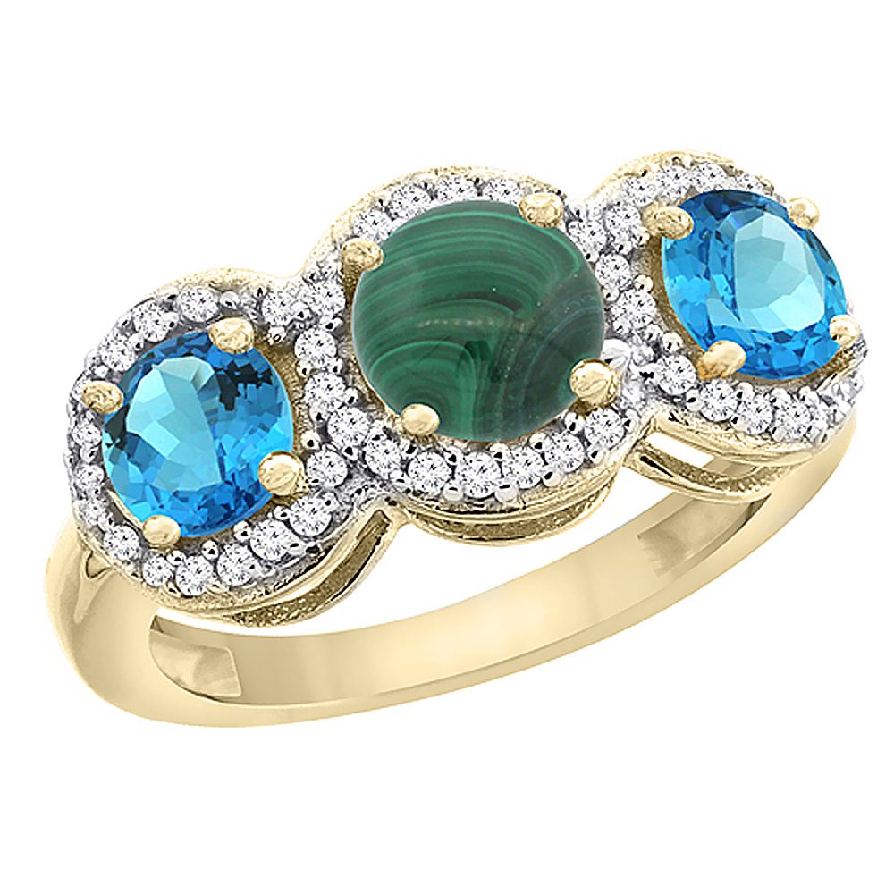 14K Yellow Gold Natural Malachite & Swiss Blue Topaz Sides Round 3-stone Ring Diamond Accents, sizes 5 - 10