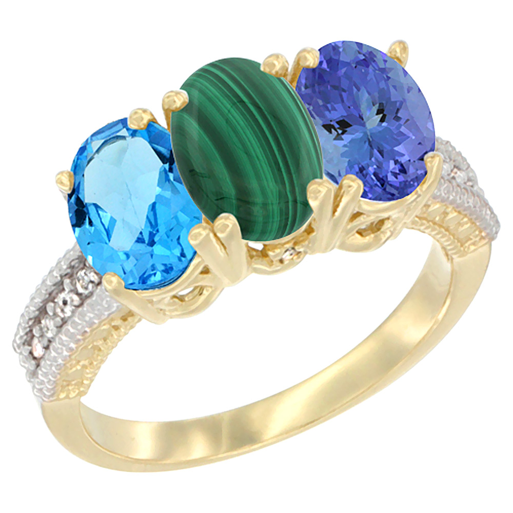10K Yellow Gold Diamond Natural Swiss Blue Topaz, Malachite & Tanzanite Ring 3-Stone Oval 7x5 mm, sizes 5 - 10