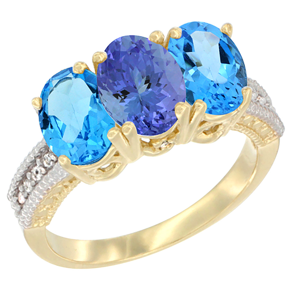 10K Yellow Gold Diamond Natural Tanzanite & Swiss Blue Topaz Ring 3-Stone Oval 7x5 mm, sizes 5 - 10