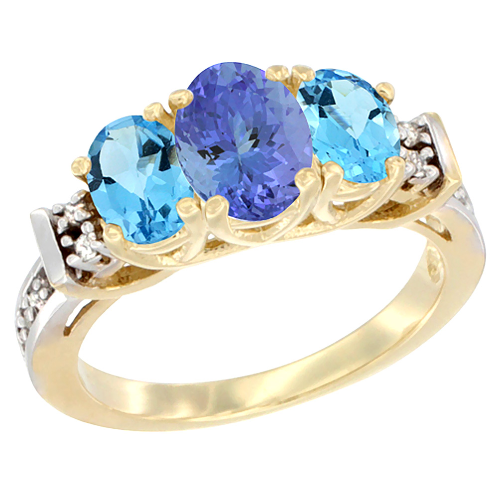 10K Yellow Gold Natural Tanzanite & Swiss Blue Topaz Ring 3-Stone Oval Diamond Accent