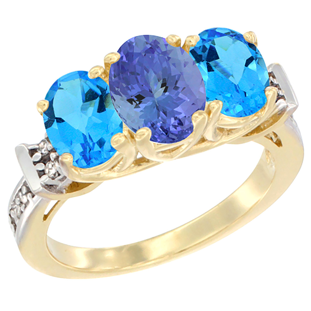 10K Yellow Gold Natural Tanzanite & Swiss Blue Topaz Sides Ring 3-Stone Oval Diamond Accent, sizes 5 - 10