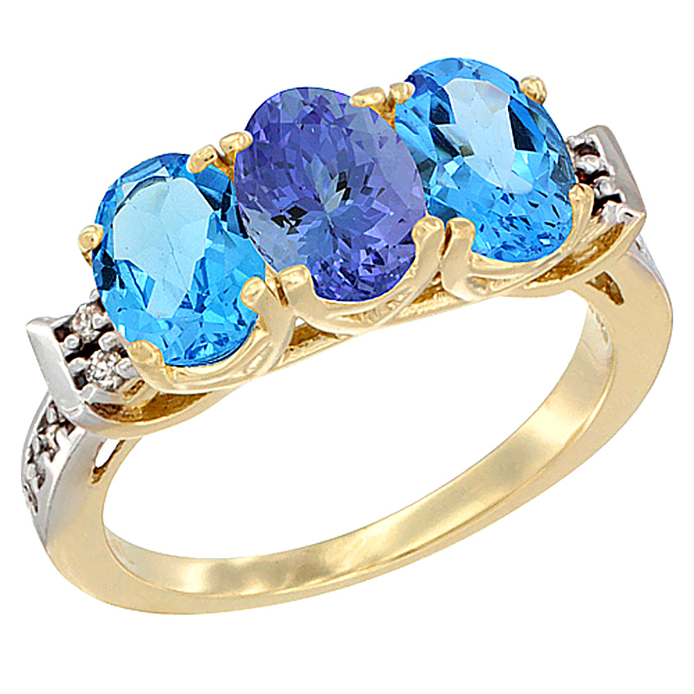 14K Yellow Gold Natural Tanzanite & Swiss Blue Topaz Sides Ring 3-Stone 7x5 mm Oval Diamond Accent, sizes 5 - 10