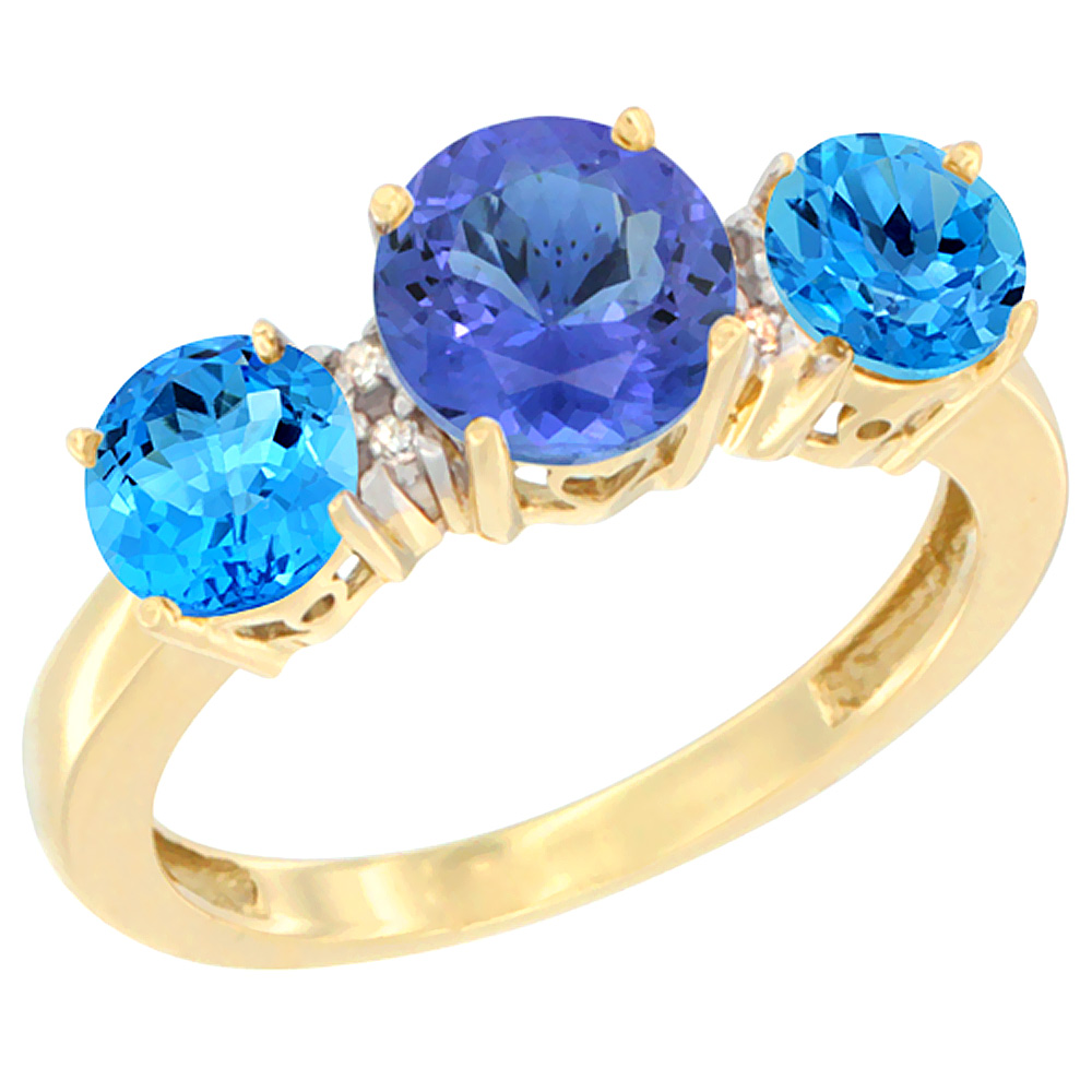 10K Yellow Gold Round 3-Stone Natural Tanzanite Ring & Swiss Blue Topaz Sides Diamond Accent, sizes 5 - 10