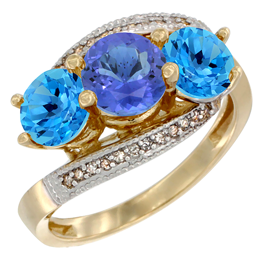 10K Yellow Gold Natural Tanzanite & Swiss Blue Topaz Sides 3 stone Ring Round 6mm Diamond Accent, sizes 5 - 10